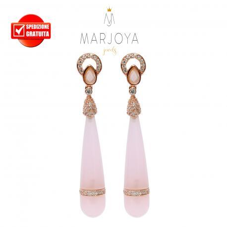 Orecchini pendoli lunghi con quarzo rosa e argento 925 rosè