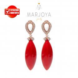 Orecchini pendenti con agata bianca e corallo in argento 925 rosè
