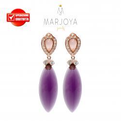 Orecchini pendenti con quarzo rosa e viola in argento 925 rosè
