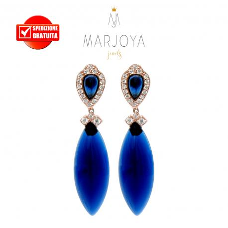 Orecchini pendenti con quarzo blu in argento 925 rosè