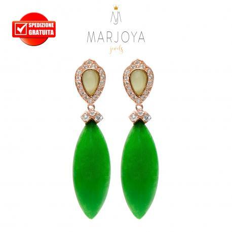 Orecchini pendenti con quarzo verde e giada in argento 925 rosè