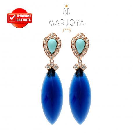 Orecchini pendenti con quarzo blu e turchese in argento 925 rosè