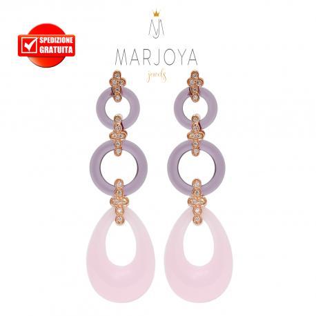 Orecchini lunghi con quarzo viola e rosa,zirconi e argento rosè