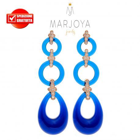 Orecchini lunghi con quarzo blu,zirconi e argento rosè
