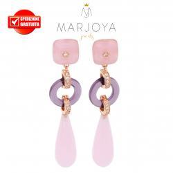 Orecchini pendoli pendenti con zirconi,quarzo rosa,viola e argento rosè