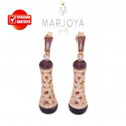 Orecchini pendoli traforati con zirconi,quarzo viola e argento rosè