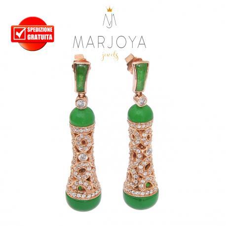 Orecchini pendoli traforati con zirconi,verde giada e argento rosè