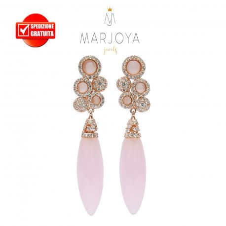 Orecchini pendenti con quarzo rosa e zirconi in argento rosè