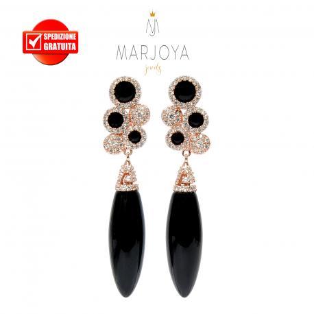 Orecchini pendenti con onice nero e zirconi in argento rosè