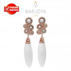 Orecchini pendenti con agata bianca e zirconi in argento rosè