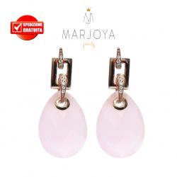 Orecchini goccia con quarzo rosa e zirconi in argento 925 rosè