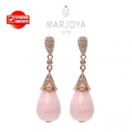 Orecchini pendoli in pasta di corallo rosa e zirconi in argento 925 rosè