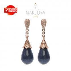 Orecchini pendoli in quarzo bluastro e zirconi in argento 925 rosè