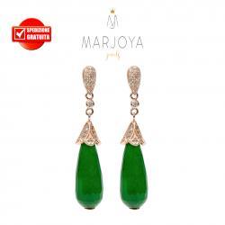 Orecchini pendoli in giada verde e zirconi in argento 925 rosè