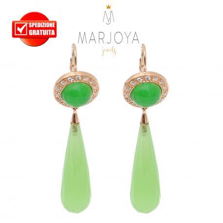 Orecchini pendoli lunghi con quarzo verde e giada in argento rosè