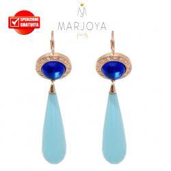 Orecchini pendoli lunghi con quarzo blu e turchese in argento rosè