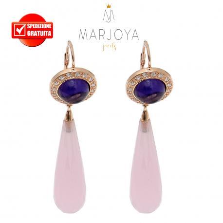 Orecchini pendoli lunghi con quarzo viola e rosa in argento rosè