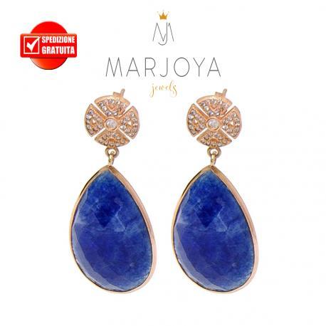 Orecchini a goccia pendenti con quarzo blu e zirconi in argento 925 rosè
