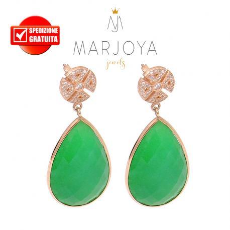 Orecchini a goccia pendenti con quarzo verde e zirconi in argento 925 rosè
