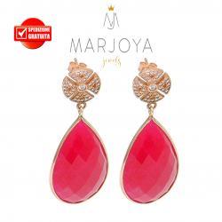 Orecchini a goccia pendenti con quarzo bordeaux e zirconi in argento 925 rosè