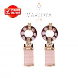 Orecchini pendenti con quarzo rosa e viola in argento rosè