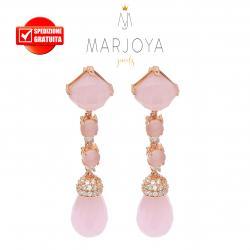 Orecchini pendenti con quarzo rosa in argento 925 rosè