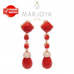 Orecchini pendenti con pasta di corallo in argento 925 rosè