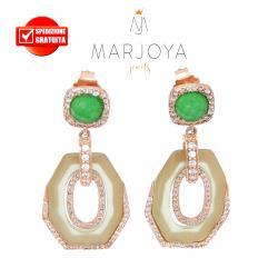 Orecchini pendenti con quarzo verde,giada e zirconi in argento rosè