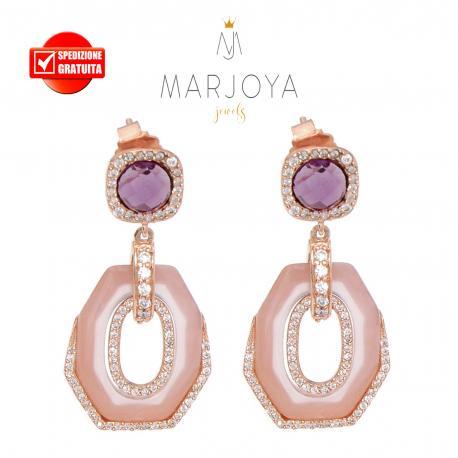 Orecchini pendenti con quarzo viola,rosa e zirconi in argento rosè