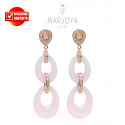 Orecchini lunghi con quarzo rosa,zirconi e  argento rosè