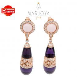Orecchini pendoli in argento 925 rosè con quarzo rosa e viola