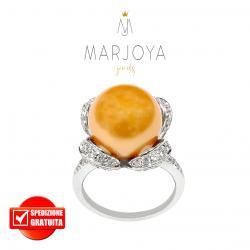 Anello fiocco con perla gold e zirconi in argento 925 rodiato