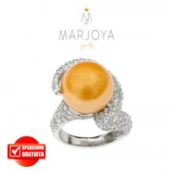 Anello spirale con perla gold e zirconi in argento 925 rodiato