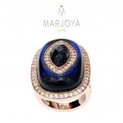 Anello rettangolare con quarzo blu,lunare e zirconi in argento 925 rosè