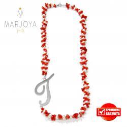 """Collana in corallo,perle naturali d'acqua dolce e iniziale """"t"""" in argento 925"""