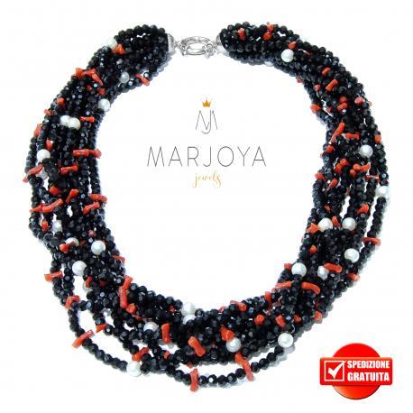 Collana torcione con swarovski neri,corallo e perle in argento 925