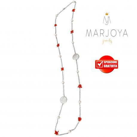 Collana stile chanel lunga con corallo e perle in argento 925