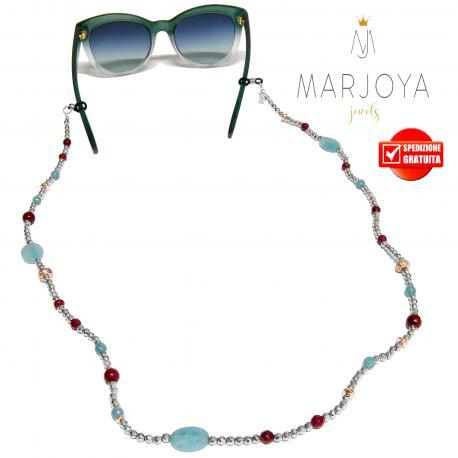 Laccetto occhiali in ematite, quarzo bordeaux, celeste e iniziale in argento 925