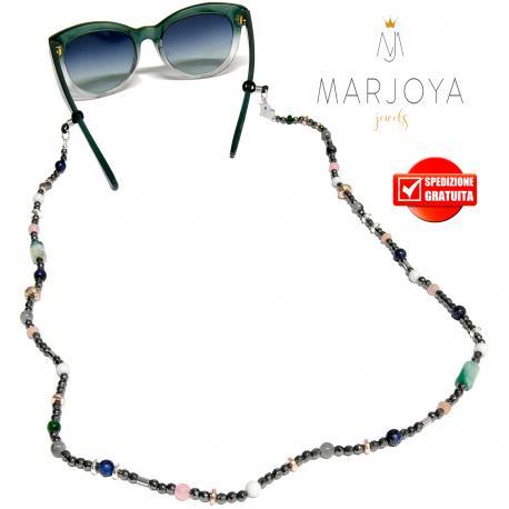 Laccetto occhiali in ematite, quarzo verde, rosa, bianco e iniziale in argento 925