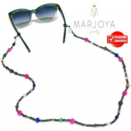 Laccetto occhiali in ematite, quarzo verde, fucsia, blu e iniziale in argento 925