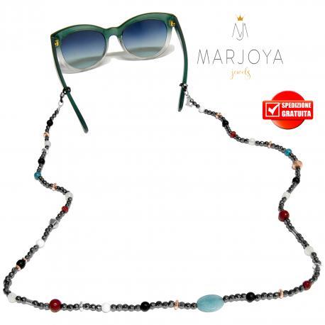 Laccetto occhiali in ematite, quarzo azzurro, bianco, bordeaux e iniziale in argento 925