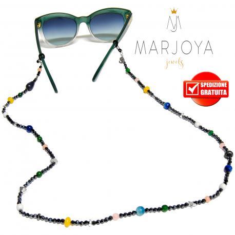 Laccetto occhiali in quarzo bianco, blu, rosa, verde e iniziale in argento 925