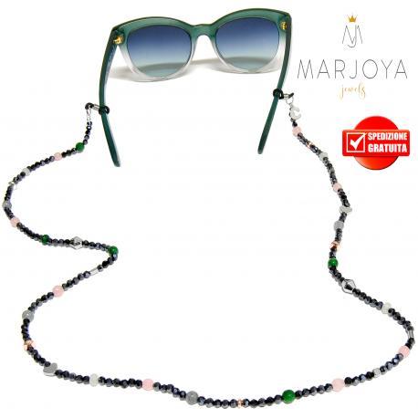 Laccetto occhiali in quarzo grigio, rosa, verde e iniziale in argento 925