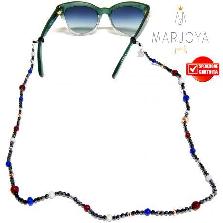Laccetto occhiali in quarzo blu, bordeaux, bianco e iniziale in argento 925