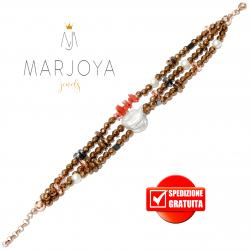 Bracciale 3 fili in ematite bronzo,perle naturali, corallo e argento rosè