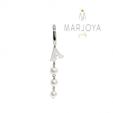Mono orecchino con iniziale e perle in argento 925, pendente