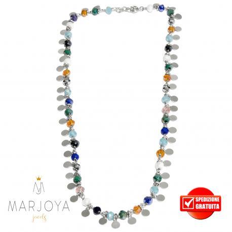 Collana con dischi pendenti e swarovski multicolor in argento 925