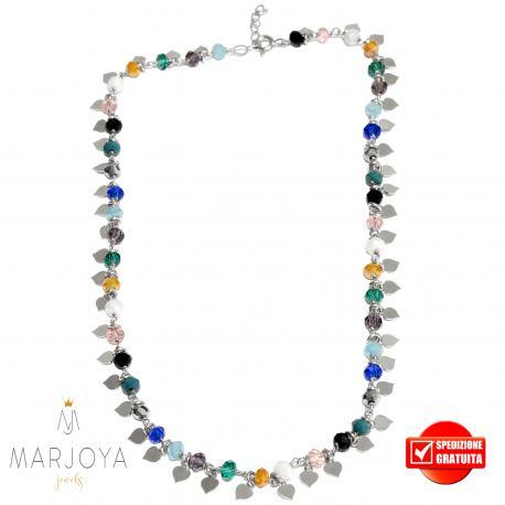 Collana con cuori pendenti e swarovski multicolor in argento 925