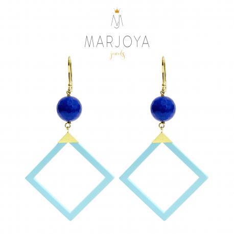 Orecchini con turchese, quarzo blu e argento dorato, pendenti