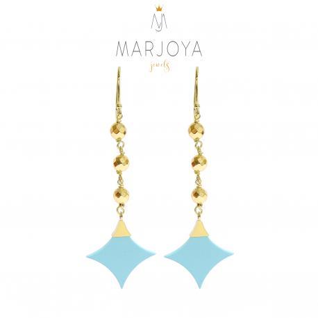 Orecchini con stella di turchese, ematite gold e argento dorato, pendenti